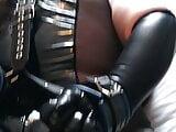 A bondage pain lsession with my shiny slave 1