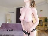 Babe with natural big boobs playing on webcam