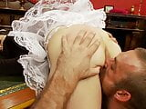 Naughty brunette maid gets her sexy ass slapped and fingered