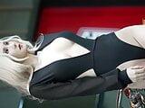 blond girl, car racing queen model in black bodysuit