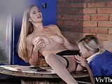 Stunning lesbian in stockings is pleasured by sexy blonde