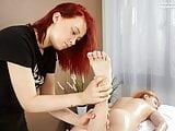 Felenk Roka enjoys legs and feet massage