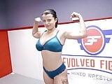 Busty Brunette Wrestler Nadia White Takes On Peter King
