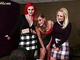 Busty British cfnm dommes wank subject in this kinky group scene